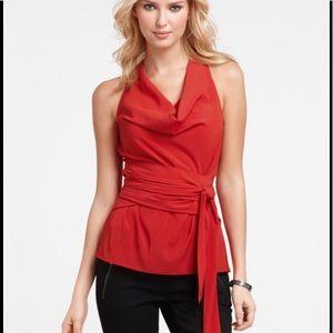 EUC Ann Taylor Wrap Cowl Neck Top Red Size 2